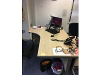 FREE FOR COLLECTION office desks X3 and 2 large metal cabinates