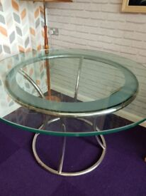 Stunning vintage glass top dining table with chrome base