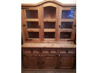 Mexican Solid Pine, Rustic Distressed Mexican Pine Glass Fronted Display Cabinet