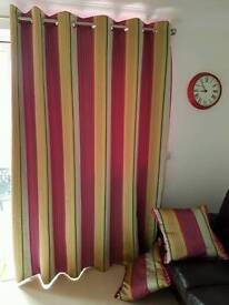 Next large curtains 228 x 229 pink lime green stripe with cushions