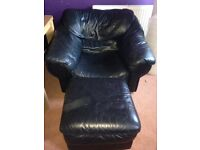 FREE black leather chair with foot stool