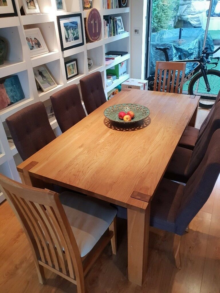 8 12 Person Solid Oak Habitat Dining Room Table Chairs In Henley