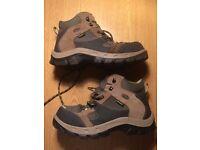 UK 4 Eu 37 leather HIKING BOOTS women / kids lightweight outdoor shoes