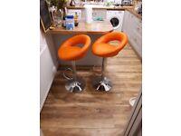 2 x Swivel Barstools Orange with Backrest Height Adjustable Faux Leather
