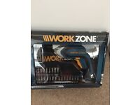 Work Zone Cordless Rechargeable Screwdriver, new in box, numerous bits