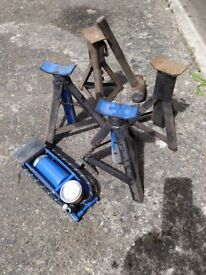 Hydraulic trolly jack , axle stands and foot pump