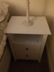 White two drawer bedside table