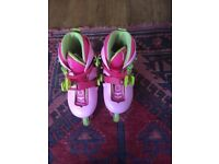 Pink adjustable girls roller boots age 5-6