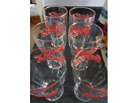Retro style Coca-Cola Glasses Embossed with the Coca-Cola logo in red lettering x 6