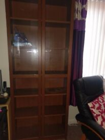 Ikea billy bookcase/display cabinet with glass doors