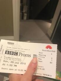 BBC Prom 19: Ten Pieces Prom x 2 tickets : adult x 1, Under 18 x 1, Sunday 29 July