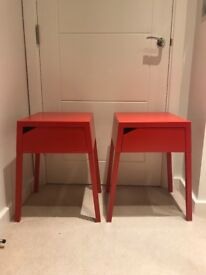 Matching Red Ikea Metal Side Tables with Drawers