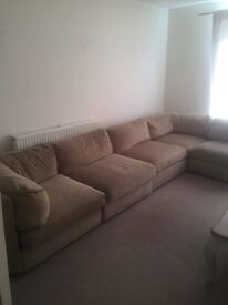 Large 5 seater very comfy beige sofa in good condition