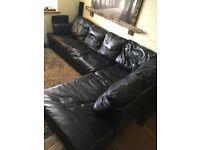Real Leather Corner Sofa Bed in Black 280x200x94cm