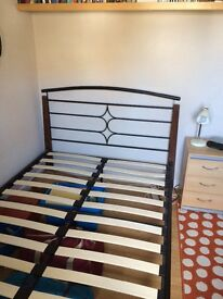Metal frame Pine Slatted Double Bed
