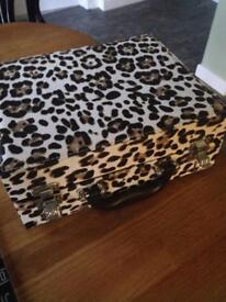 Faux Leather Animal Print Vanity / Makeup Case