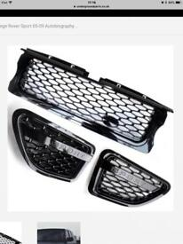 Black Range Rover Sport Grill autobiography style and black sport side vents plus badged.