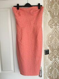 ASOS pink strapless midi dress size 12