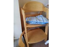 Sturdy wooden highchair with adjustable seat and foot rest £5
