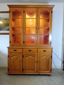 Large Pine Welsh Dresser / Kitchen Dresser Glass display Doors with Lighting