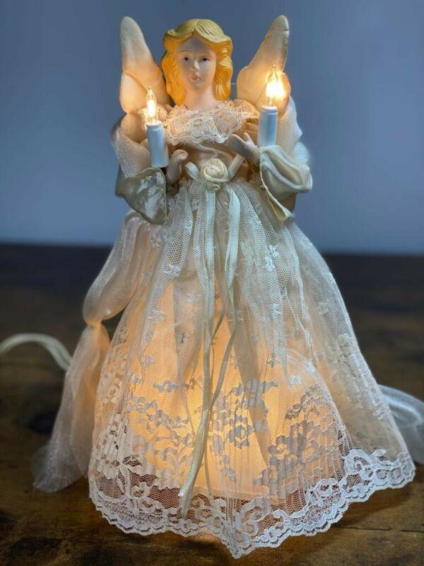 Vintage Lighted Angel Tree Topper Porcelain face and hands
