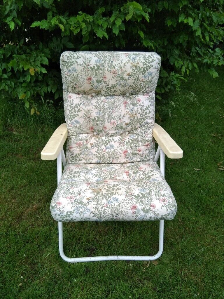 Free two garden chairs floral padded cushions metal frames york
