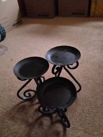 Metal candle holders set of three, different heights