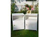 Pair of shabby chic retro bedside tables