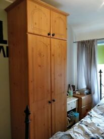 Pine double wardrobe with top box