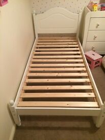 White wooden single bed good condition. Available for collection from 4th Feb