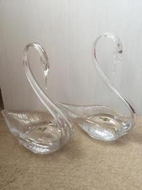 2 x Webb Corbett Fine English full lead crystal glass swans