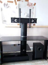 TV STAND/ENTERTAINMENT UNIT - BLACK GLASS