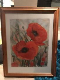 Picture photo frame of poppies