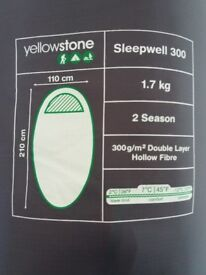 Yellowstone Sleepwell 300 Mummy Sleeping Bag, Brand New