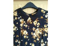 Ladies vintage style yellow floral dress size 10
