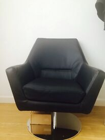 Ross Leisure Chair In Black Faux Leather With Stainless Steel