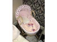 Baby girl butterfly Moses basket