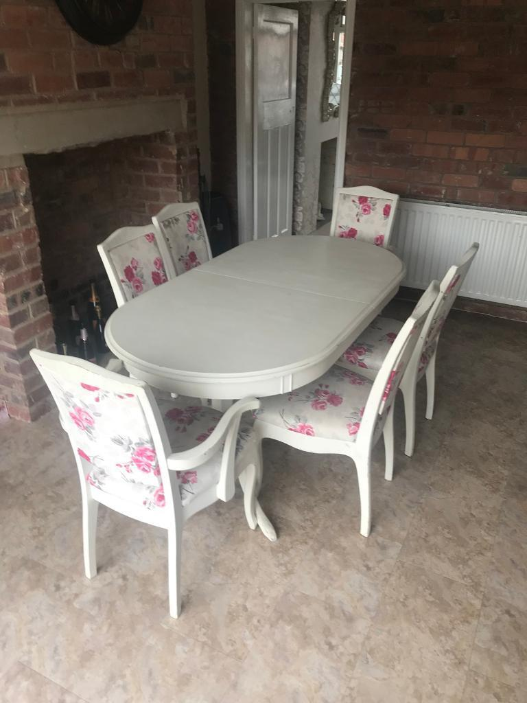 Shabby Chic White Extendable Dining Table With 6 Pink Floral Chairs In Middleton West Yorkshire Gumtree