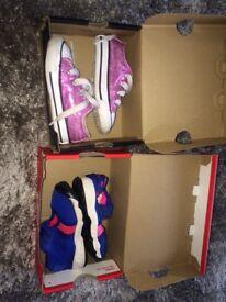 Pink glitter shiny converse & girls Nike rifts