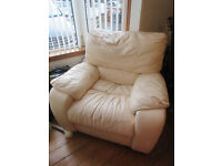 Cream Leather Electric Recliner
