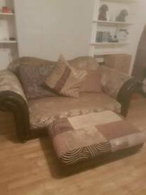 2 Seater Sofa with matching stool , Free to collect