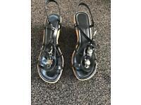 Ladies size 7 wedge sandals black