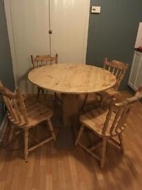 Farm house rustic table and 4 chairs