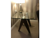 Living Room Side table/ Lamp Table/ Tempered Glass Dark Oak Legs/ Excellent Condition