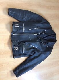 Black Leather Bike style Jacket with chunky zips and poppers