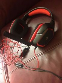 Logitech Black/Red G230 Stereo PC Gaming Headset with Mic
