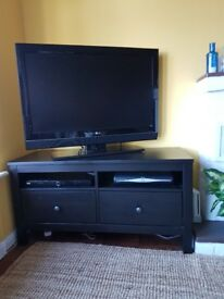 Dark Wood TV Console Table with 2 shelves and drawers