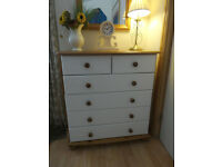Solid Pine Country Style chest of 2 over 4 drawers VGC