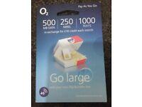 O2 Sim Card with £10 credit