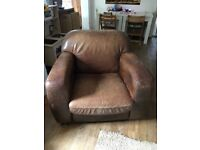 Soft Leather Armchair with footstool